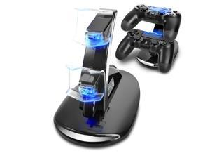 PS4 Controller Charge Station - 2x USB Simultaneous Charger Dual Charging Dock Cradle Stand Accessory for Sony Playstation 4 Gaming Control with LED Indicator + Micro Cable (Black)