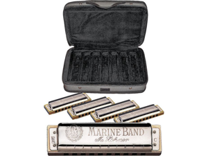 Hohner Marine Band Harmonica Assortment with Case