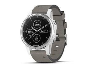 Garmin 010-01987-04 fenix 5S Plus - Compact Multisport Watch with Music, maps, and Pay - Sapphire, White with Gray Suede Band