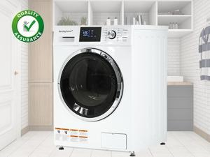 "Washer Dryer Combo 24"" Compact Laundry with 2.7Cubic. ft. Capacity Electric Dryer and Washer Stainless Steel Drum and Four transport bolts ,White"