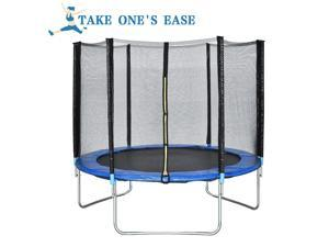 10 FT Trampoline Combo Bounce Jump Safety Enclosure Net W/Spring Pad
