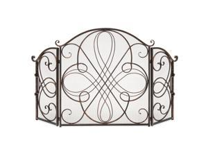 Best Choice Products 3-Panel Wrought Iron Fireplace Safety Screen Decorative Scroll Spark Guard Cover - Antique Bronze