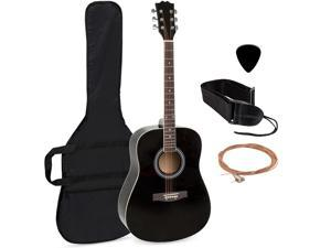 Best Choice Products 41in Full Size All-Wood Acoustic Guitar Starter Kit w/ Case, Pick, Strap, Extra Strings - Black