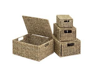 Best Choice Products Set of 4 Multi-Purpose Woven Seagrass Storage Box Baskets for Home Decor, Organization
