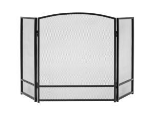 Best Choice Products 3-Panel Living Room Steel Mesh Simple Design Fireplace Screen Decor w/ Rustic Worn Finish