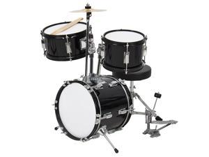 Best Choice Products 3-Piece Kids Beginner Drum Set w/ Sticks, Chair, and Drum Pedal -Black