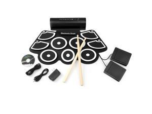 Best Choice Products Roll-Up Foldable 9-Pad Electronic Drum Set w/ USB MIDI, Speakers, Foot Pedals, Drumsticks - Black