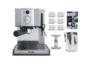 Breville ESP8-XL Cafe Roma Espresso Machine w/ Espresso Tamper + 6-Pieces (3 oz.) Cup & Saucer + Accessory Kit