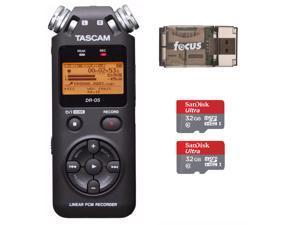 Tascam DR-05 Portable Digital Recorder w/ 2 SanDisk 32GB Card & Card Reader