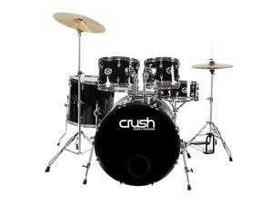 Crush Drums AL528-900 Alpha Complete 5pc Drumset Package w/Cymbals - Black
