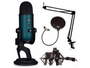 Blue Microphones Yeti Mic Teal with Knox Boom Arm, Shock Mount & Pop filter