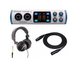 PreSonus Studio 26 USB 2x4 MIDI Interface with Studio Headphones & XLR Cable
