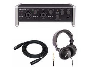 Tascam US-2x2 USB Audio Interface with Full Size Heaphones and XLR Cable