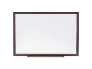 Dry-Erase Board, Wood Frame, 3'x2', Brown/White