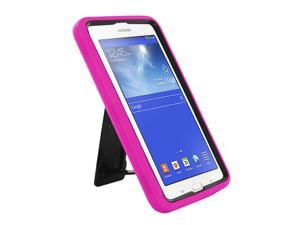 """Hot Pink Hybrid Protection Case Cover Rugged Durable Heavy Duty Impact Shock-proof Drop-proof with Integrated Screen Protector For Samsung Galaxy Tab E 3 7.0 7"""" Lite T110 T111 T113 T116"""