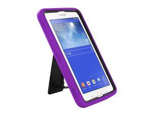 """Purple Hybrid Protection Case Cover Rugged Durable Heavy Duty Impact Shock-proof Drop-proof with Integrated Screen Protector For Samsung Galaxy Tab E 3 7.0 7"""" Lite T110 T111 T113 T116"""