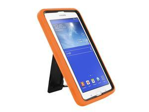 KIQ Heavy Duty Hybrid Case, Dual layer Protection Tablet Cover Kickstand Built-in cut-outs for camera and charging ports For Samsung Galaxy Tab E 7.0 Lite, Galaxy Tab 3 7.0 Lite (Orange)