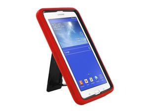 "Red Hybrid Protection Case Cover Rugged Durable Heavy Duty Impact Shock-proof Drop-proof with Integrated Screen Protector For Samsung Galaxy Tab E 3 7.0 7"" Lite T110 T111 T113 T116"