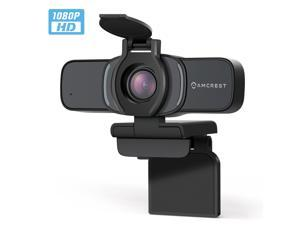 Amcrest 1080P Webcam with Microphone & Privacy Cover, Web Cam USB Camera, Computer HD Streaming Webcam for PC Desktop & Laptop w/ Mic, Wide Angle Lens (AWC201-B)