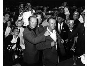 5ee947971b52 Arnold Palmer Dave Marr and Jack Niklaus at a press ...