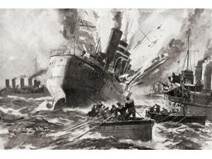The blowing up of HMS Amphion by a German mine during World War One    From The History of the Great War published c 1919 Poster Print by Hilary Jane Morgan  Design Pics (17 x 11)