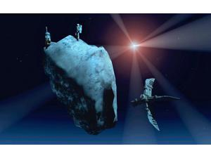 Futuristic concept of mankind mining for minerals on comets Poster Print by Mark StevensonStocktrek Images (17 x 11)