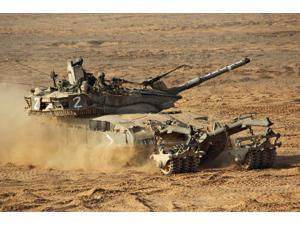 An Israel Defense Force Merkava Mark II battle tank with mine clearing device Poster Print by Ofer ZidonStocktrek Images (17 x 11)