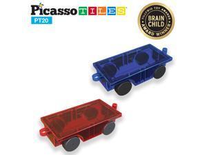PicassoTiles 2 Piece 3D Car Truck Set w/ Extra Long Bed & Re-Enforced Latch, Magnet Building Tile Magnetic Blocks Creativity Beyond Imagination! Educational, Inspirational, Conventional,& Recreational