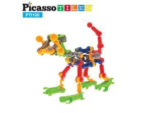 PicassoTiles 100 Piece Set 100pcs Magnet Building Tiles Clear Magnetic 3D Building Blocks Construction Playboards, Creativity beyond Imagination, Inspirational, Recreational, Educational Conventional!