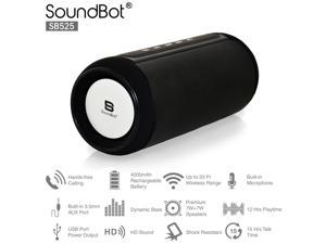 SoundBot SB525 Bluetooth 4.0 Wireless Speaker for 12 hrs Music Streaming & Hands-Free Calling w/ Passive sub woofer, 7W + 7W Driver Speakerphone, Built-in Mic, 3.5mm Audio Port, for Indoor/Outdoor Use