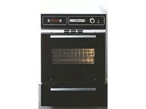 Summit  TTM7212DK:  Black  glass  gas  wall  oven  with  electronic  ignition,  digital  clock/timer,  and  oven  window
