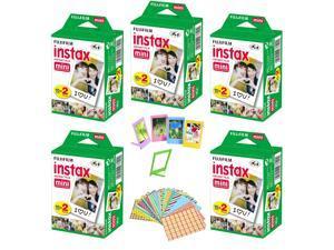 Fujifilm Instax Mini Instant Film, 5 Twin Packs (100 Sheets)+ Frames & Stickers