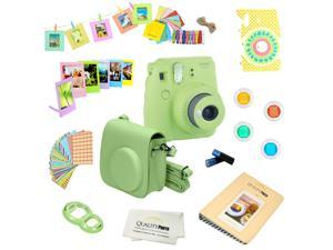 Fujifilm Instax Mini 9 (Lime Green) Deluxe kit bundle Includes -Instant camera - Custom Camera Case - instax Album - Frames -Wall Hang Frames- Stickers - Close up lens + MORE …