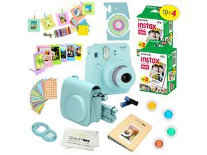 Fujifilm Instax Mini 9 (Ice Blue)  Deluxe kit bundle Includes -Instant camera with Instax mini 9 instant films (40 pack) - Custom Camera Case - instax Album – Frames - wall hang frames- - Stickers - C