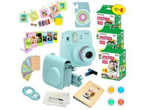 Fujifilm Instax Mini 9 (Ice Blue)  Deluxe kit bundle Includes -Instant camera with Instax mini 9 instant films (60 pack) - Custom Camera Case - instax Album – Frames - wall hang frames- - Stickers - C