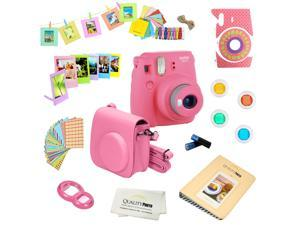 Fujifilm Instax Mini 9 (Flamingo Pink) Deluxe kit bundle Includes -Instant camera - Custom Camera Case - instax Album - Frames -Wall Hang Frames- Stickers - Close up lens + MORE …