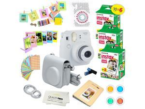 Fujifilm Instax Mini 9 (Smokey White)  Deluxe kit bundle Includes -Instant camera with Instax mini 9 instant films (60 pack) - Custom Camera Case - instax Album – Frames - wall hang frames- - Stickers