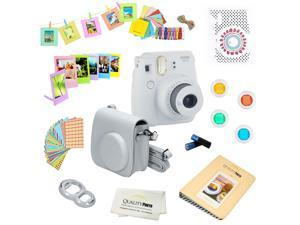 Fujifilm Instax Mini 9 (Smokey White) Deluxe kit bundle Includes -Instant camera - Custom Camera Case - instax Album - Frames -Wall Hang Frames- Stickers - Close up lens + MORE …
