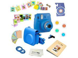 Fujifilm Instax Mini 9 (Cobalt Blue) Deluxe kit bundle Includes -Instant camera - Custom Camera Case - instax Album - Frames -Wall Hang Frames- Stickers - Close up lens + MORE …