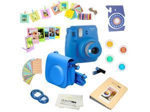 Fujifilm Instax Mini 9 (Cobalt Blue) Deluxe kit bundle Includes -Instant camera - Custom Camera Case - instax Album - Frames -Wall Hang Frames- Stickers - Close up lens + MORE …