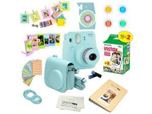 Fujifilm Instax Mini 9 (Ice Blue)  Deluxe kit bundle Includes -Instant camera with Instax mini 9 instant films (20 pack) - Custom Camera Case - instax Album – Frames - wall hang frames- - Stickers - C