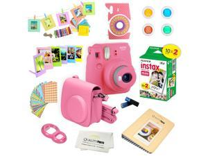 Fujifilm Instax Mini 9 (Flamingo Pink)  Deluxe kit bundle Includes -Instant camera with Instax mini 9 instant films (20 pack) - Custom Camera Case - instax Album – Frames - wall hang frames- - Sticker