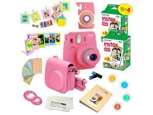 Fujifilm Instax Mini 9 (Flamingo Pink)  Deluxe kit bundle Includes -Instant camera with Instax mini 9 instant films (40 pack) - Custom Camera Case - instax Album – Frames - wall hang frames- - Sticker