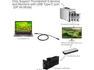SIIG CB-TB0011-S1 Thunderbolt Cable - Usb-C (M) To Usb-C (M) - Usb 3.1 Gen 2 / Thunderbolt 3 / Displayport 1.2 - 20 V - 5 A - 3.3 Ft - 4K Support, Active - Black
