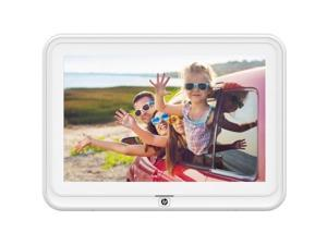 """iDeaUSA HP 10.1 inch WiFi Photo Frame - 10.1"""" LED Digital Frame - White - 1280 x 800 - Wireless - 16:10 - JPEG, JPG, BMP, PNG - In-plane Switching (IPS) Technology, Background Music, Alarm, Clock"""