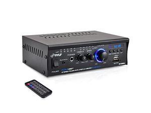Bluetooth Mini Blue Series Stereo Power Amplifier, 2 x 120 Watt, USB Charge Port, USB/SD Memory Card Readers, RCA and AUX (3.5mm) Input Connector Jacks, Remote Control