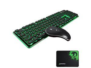 Wireless Keyboard and Mouse Combo Water Resistance 2.4G Green Backlit and Wireless Soundless Mouse with Nano USB Receiver for Laptop PC Mac
