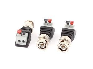 3 Pcs Terminal Block Coaxial Cat5 to BNC Female Jack Video Balun Connector