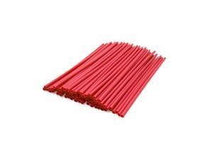 72pcs 23.5cm Length Motorcycle Wheel Steel Wire Spoke Reflective Clip Tube Red