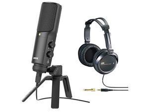 Rode NT-USB USB Condenser Microphone with JVC HARX300 Full-Size Headphones (Black)